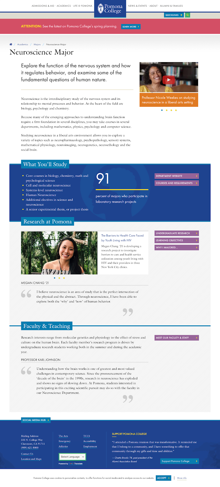 The Neuroscience Major page from the Pomona College website.