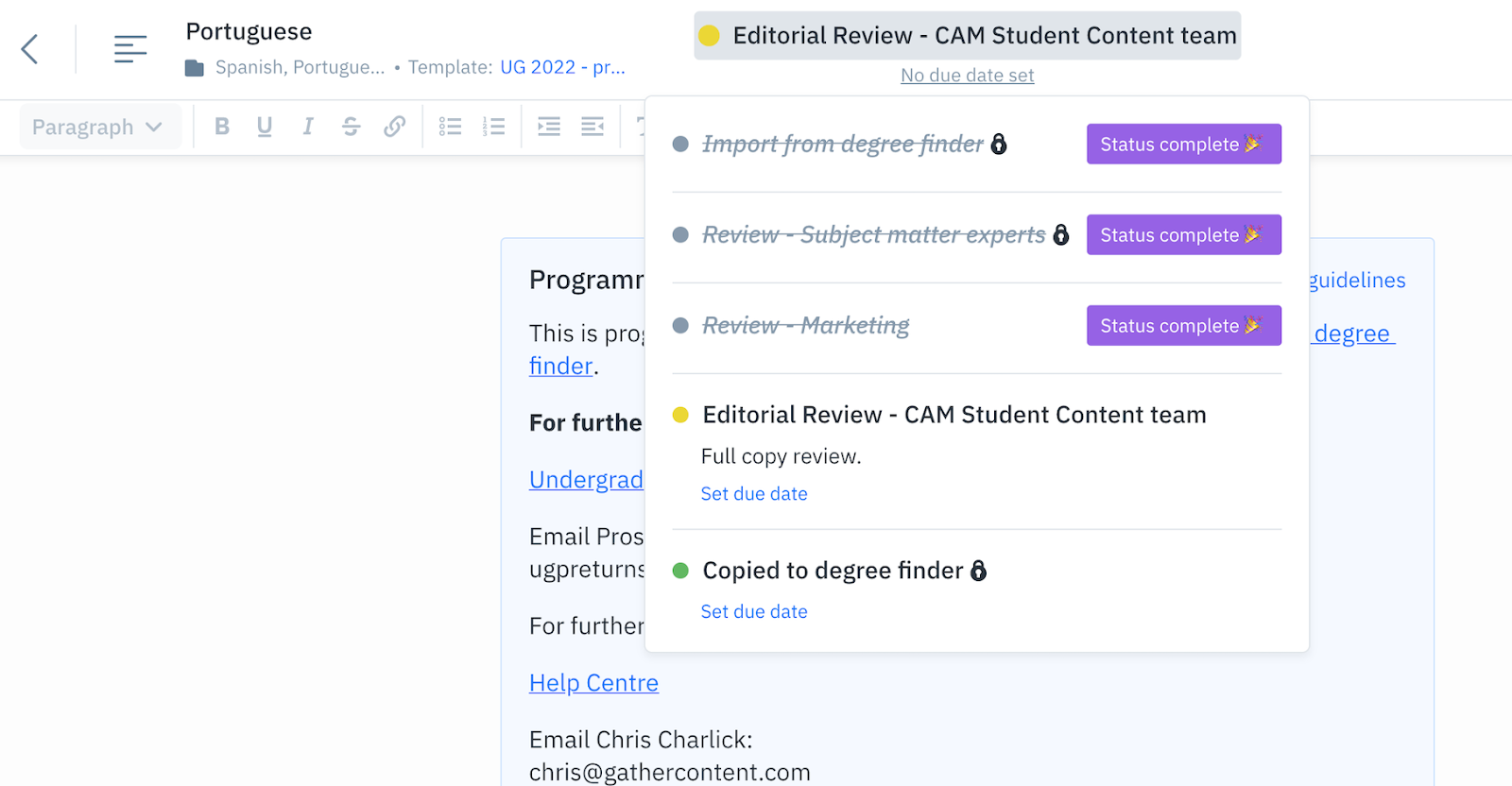 Content workflow within a programme content item in GatherContent, showing all of the workflow stages and their status such as 'import from degree finder' being complete.