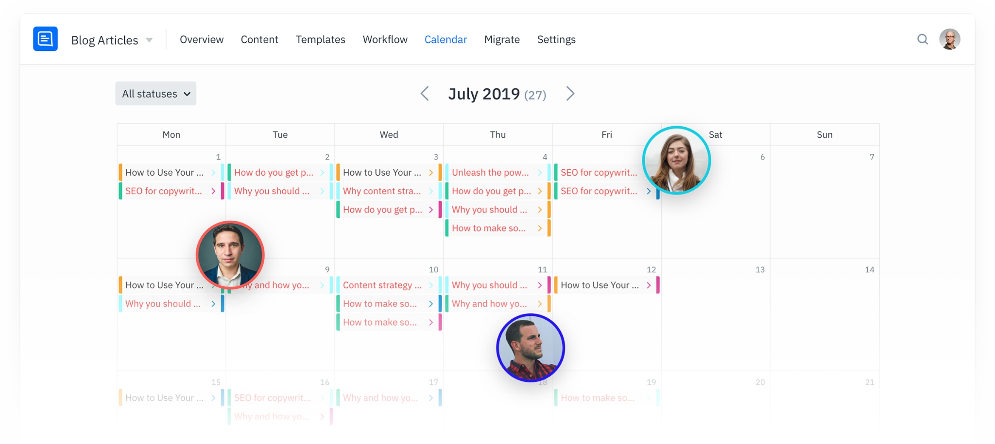 Example GatherContent Content Calendar - showing a team's content schedule