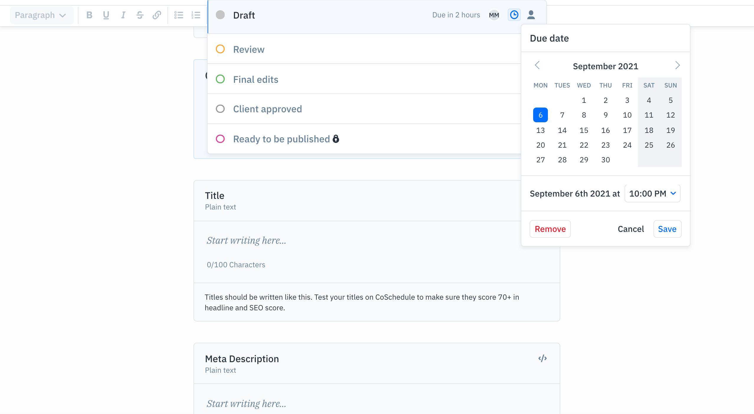 GatherContent workflow status due dates for briefs