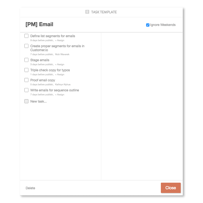 Content tasks example