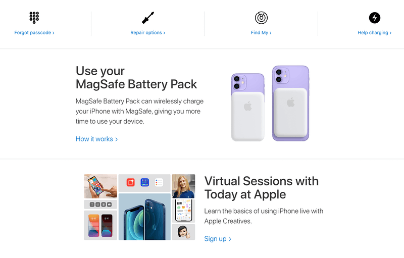 Apple Support search results