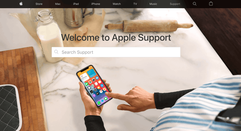 Apple support home page