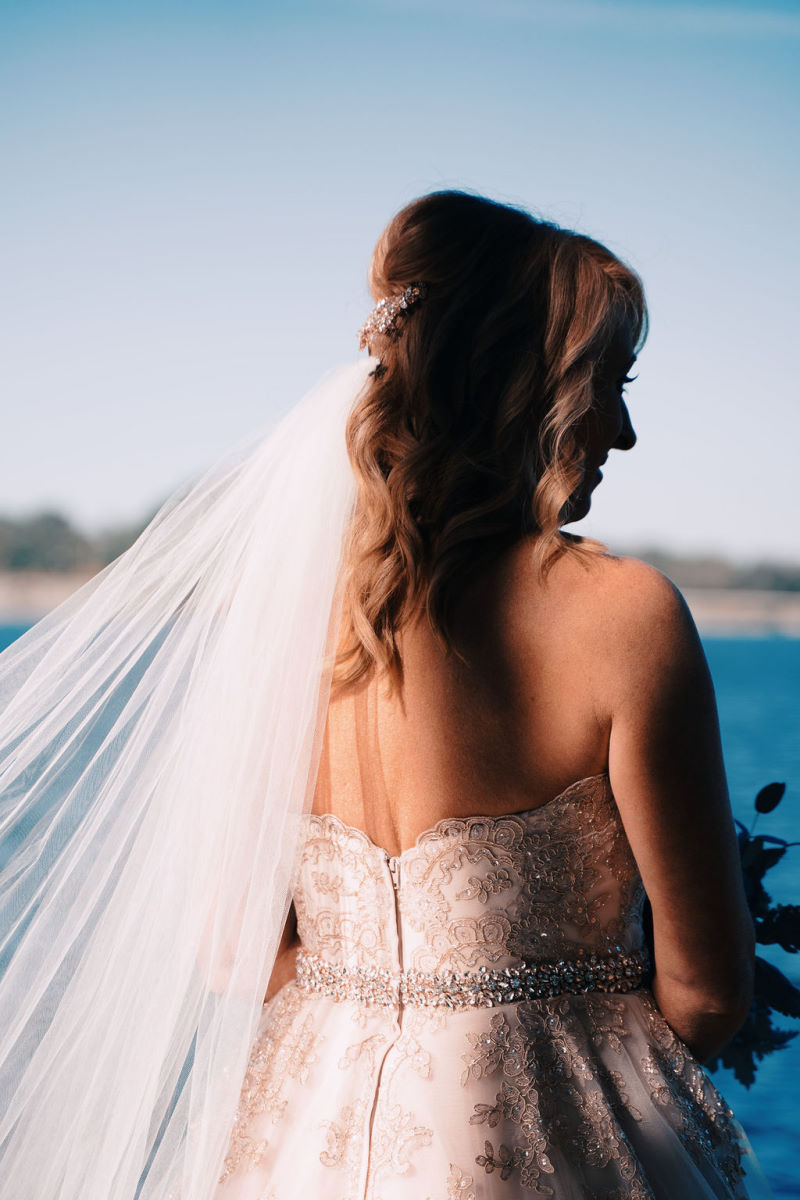 Photo of a bride taken from behind