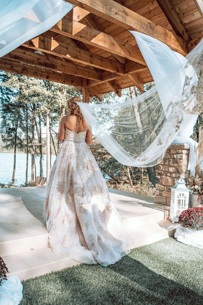 Bride at waterfront wedding chapel