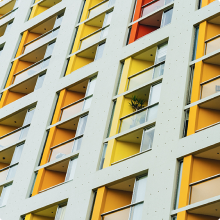 Colourful budget hotel windows