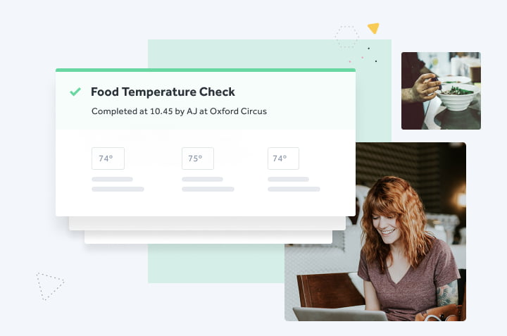 a chef takes the temperature of a dish for a digital food temperature check while a manager checks her team's progress online