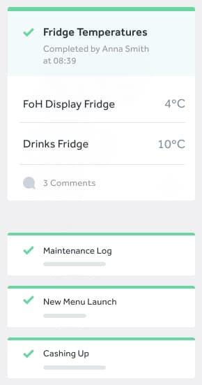 a task is shown for a fridge temperature check on a mobile device