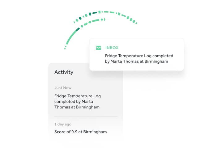 Trails activity log shows notifications for a fridge temperature log being completed
