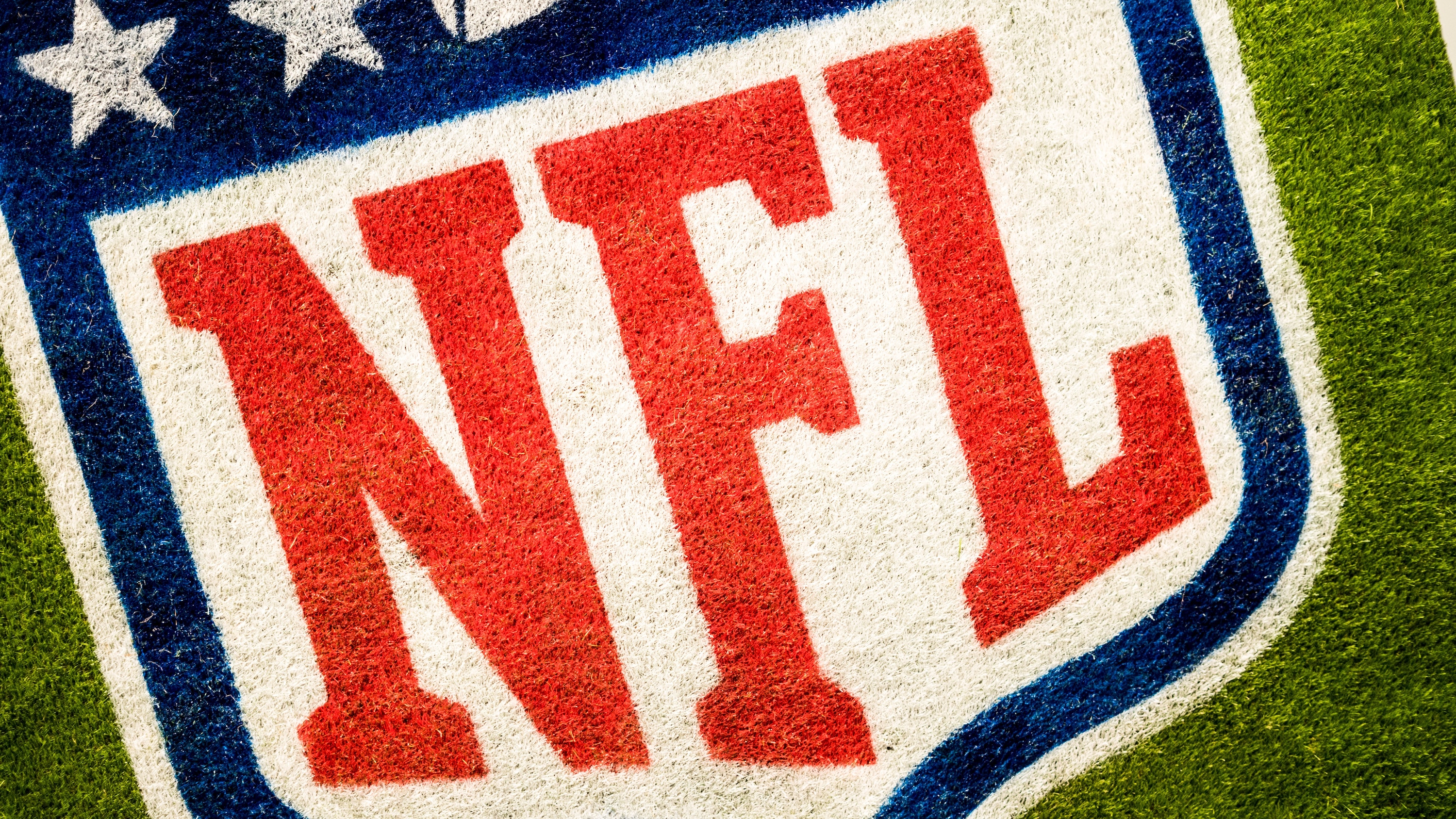 nfl badge printed on the grass