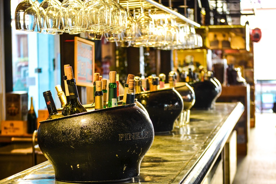 Bottles of wine on a bar
