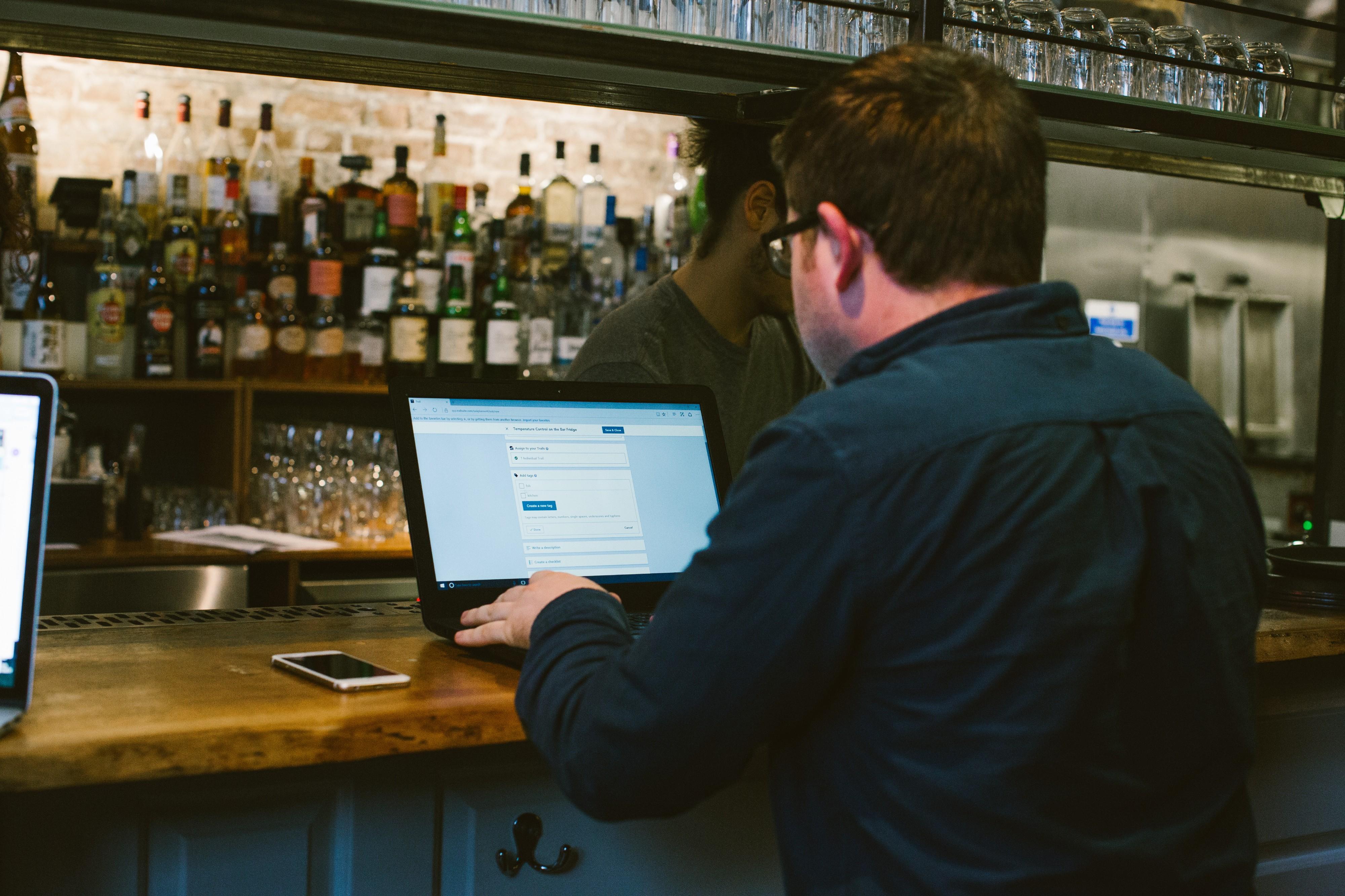 Restaurant manager using Trail on desktop