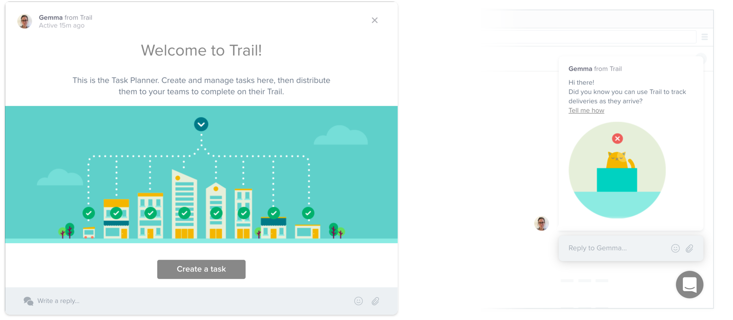 Welcome to Trail app message