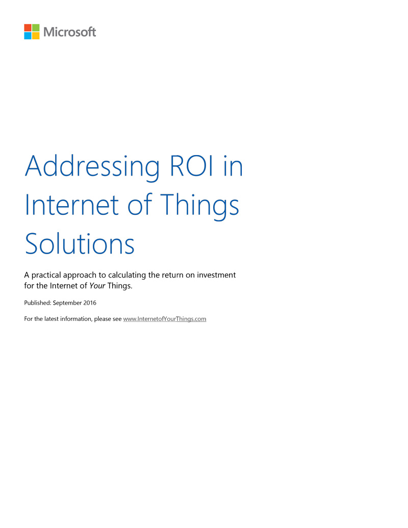 Addressing ROI in IoT