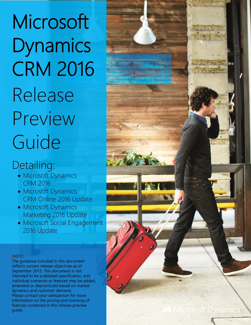 Release preview guide of Dynamics CRM 2016