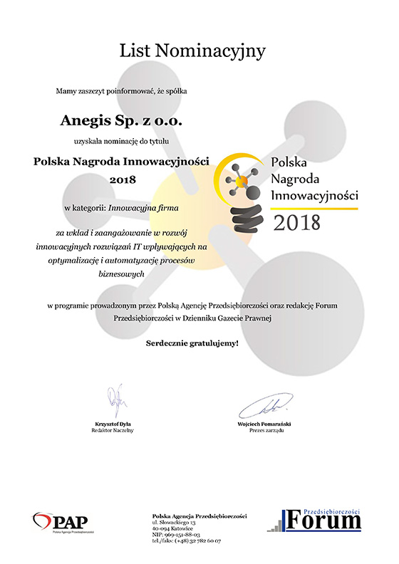 ANEGIS nominated for Polish Innovation Award 2018