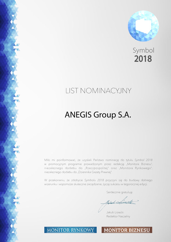 ANEGIS nominated for Symbol Award 2018