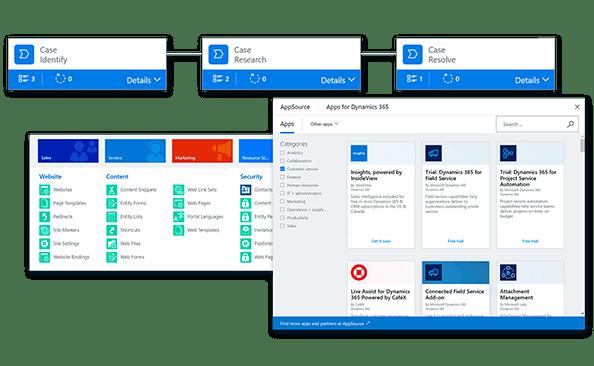 opcje aplikacji Dynamics 365 for Customer Service
