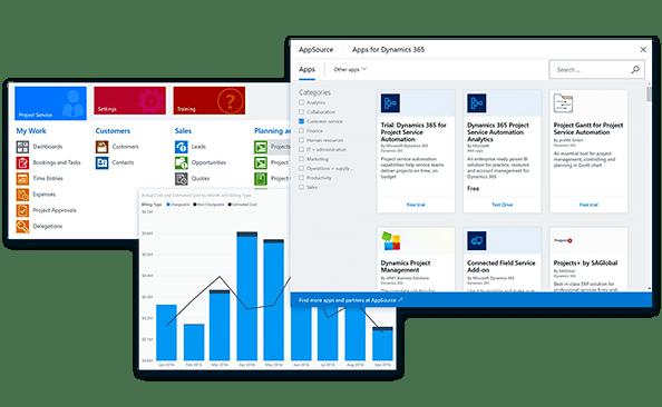 opcje aplikacji Dynamics 365 for Project Service Automation