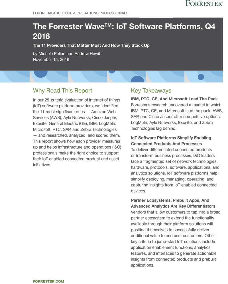 The Forrester Wave – IoT platforms – Q4 2016