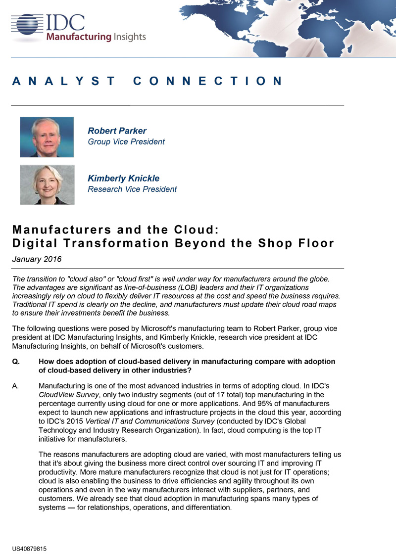 Beyond the shop floor – IDC report on manufacturing and the cloud