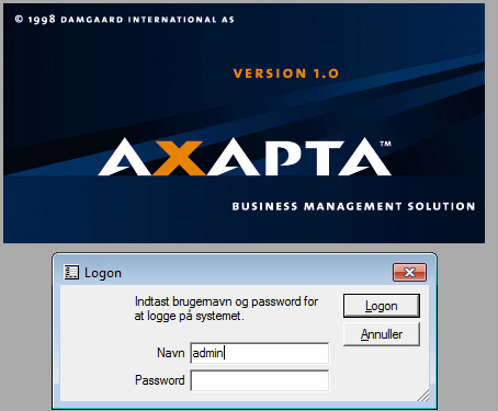 Axapta Login screen