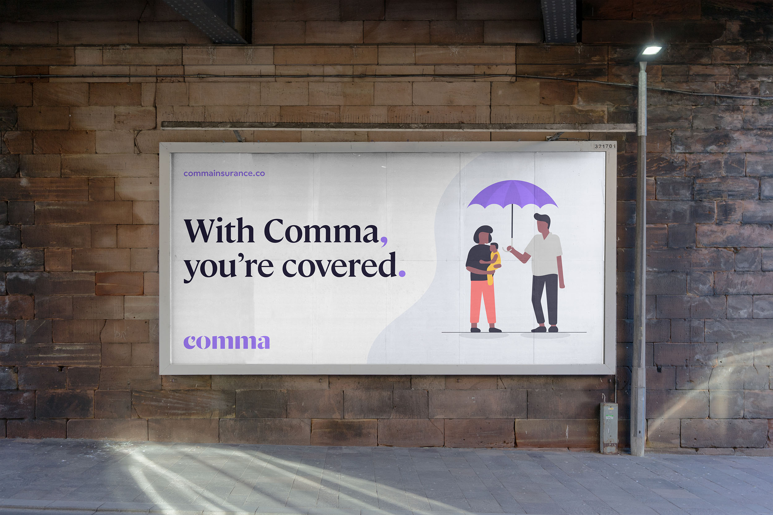 'With comma, you're covered' billboard