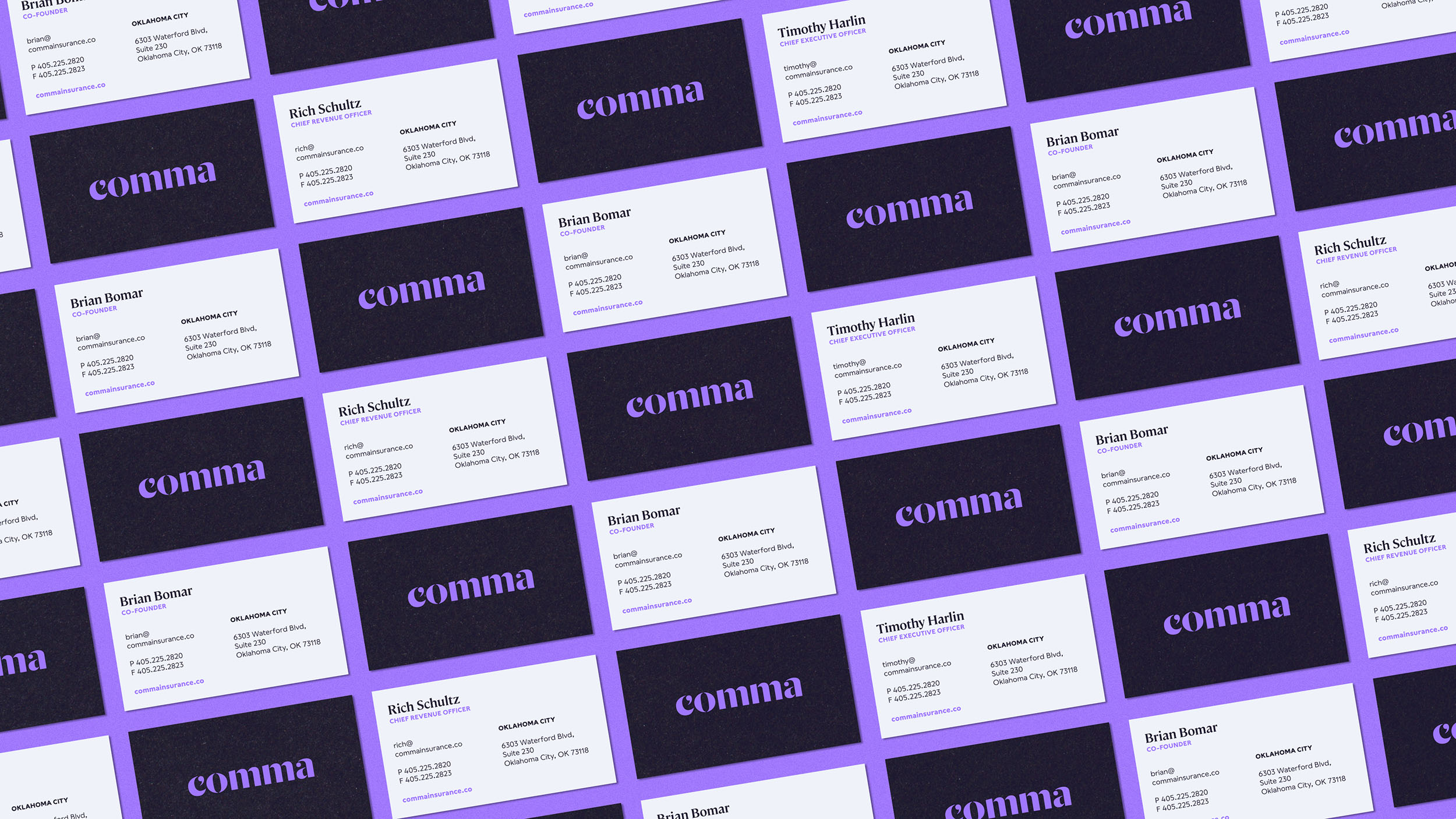 Business Cards for Comma Insurance