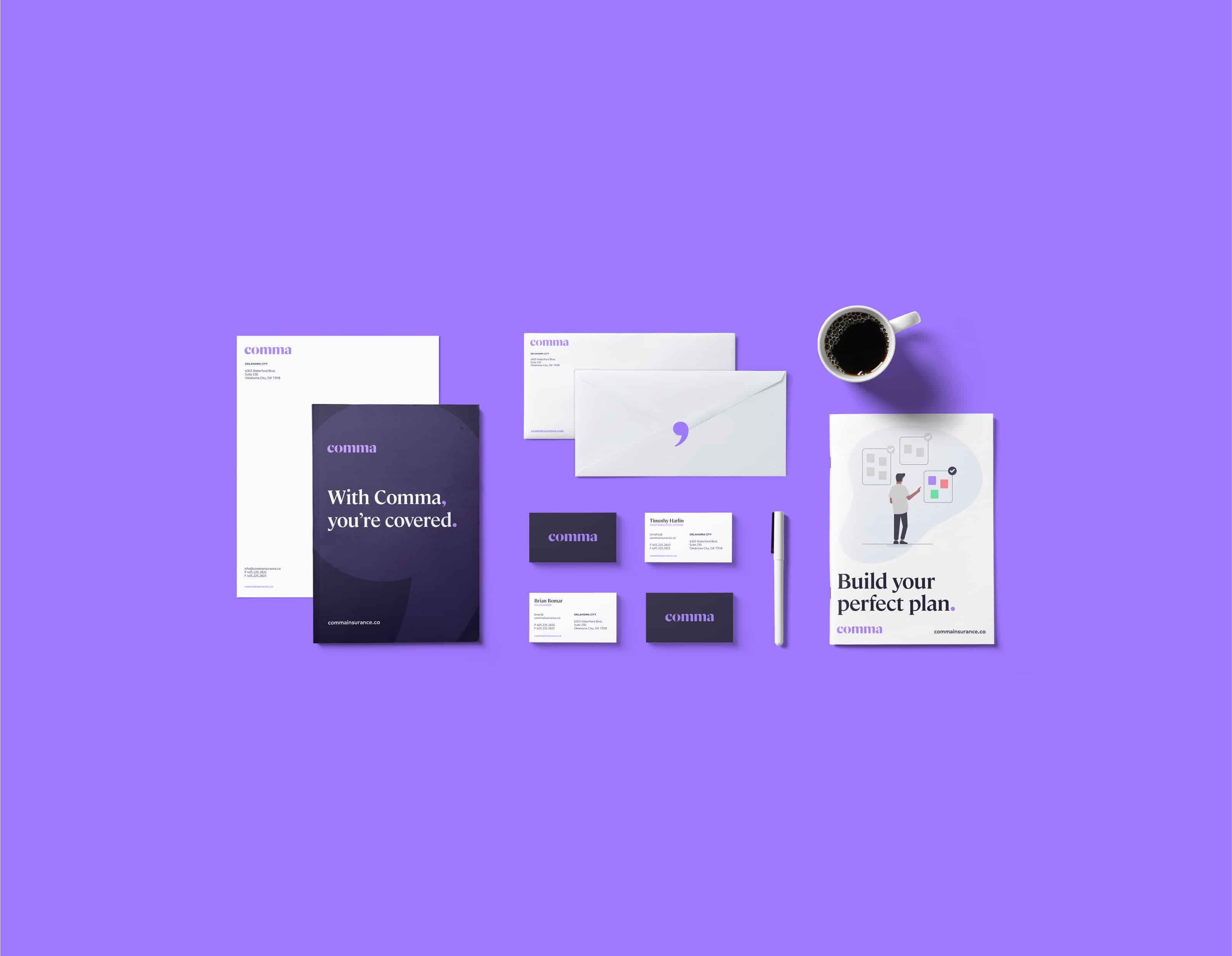 Stationery Set for Comma Insurance designed by Ghost, OKC