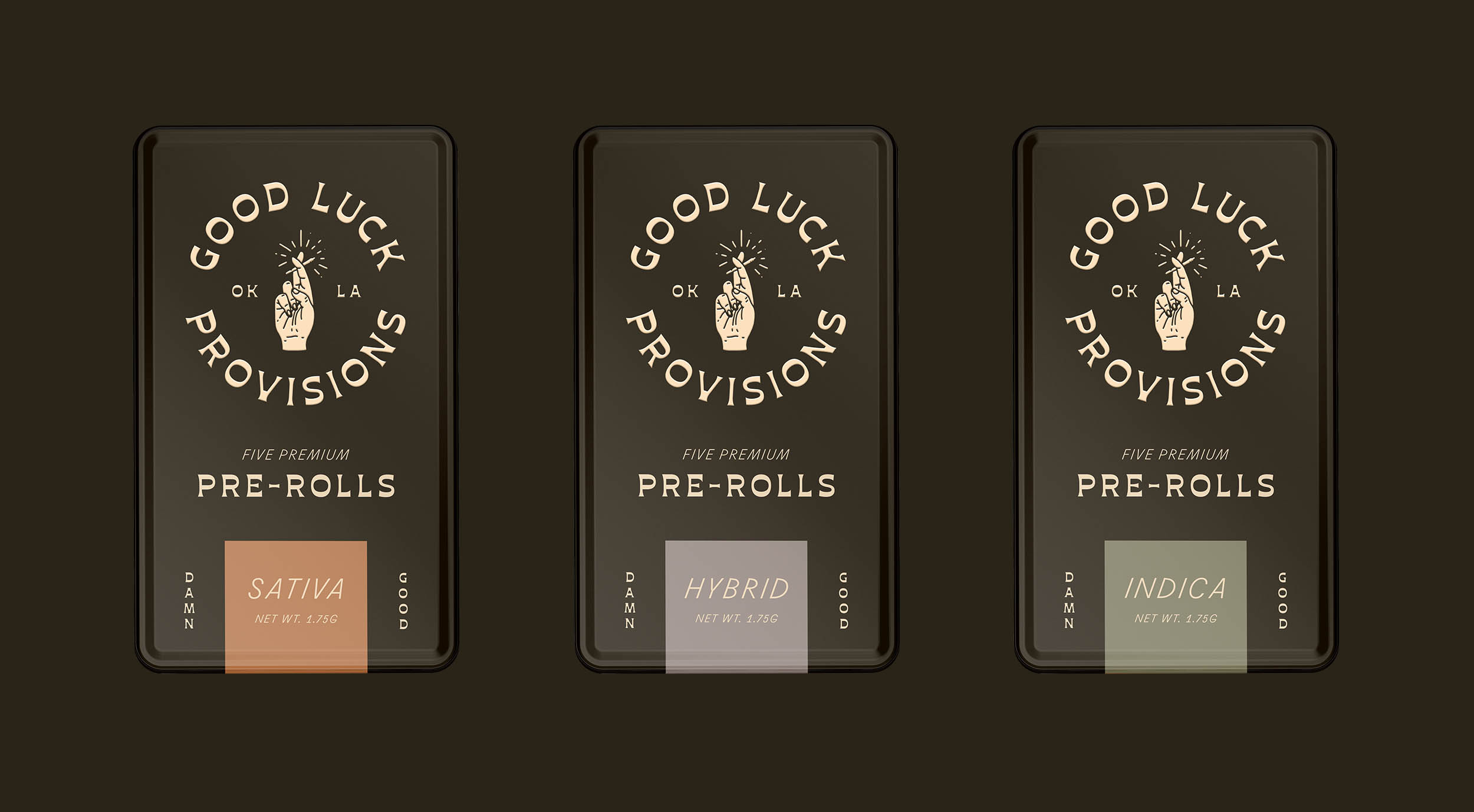 Pre-Roll Metal Tin Packages for Good Luck Provisions. Cannabis Branding.