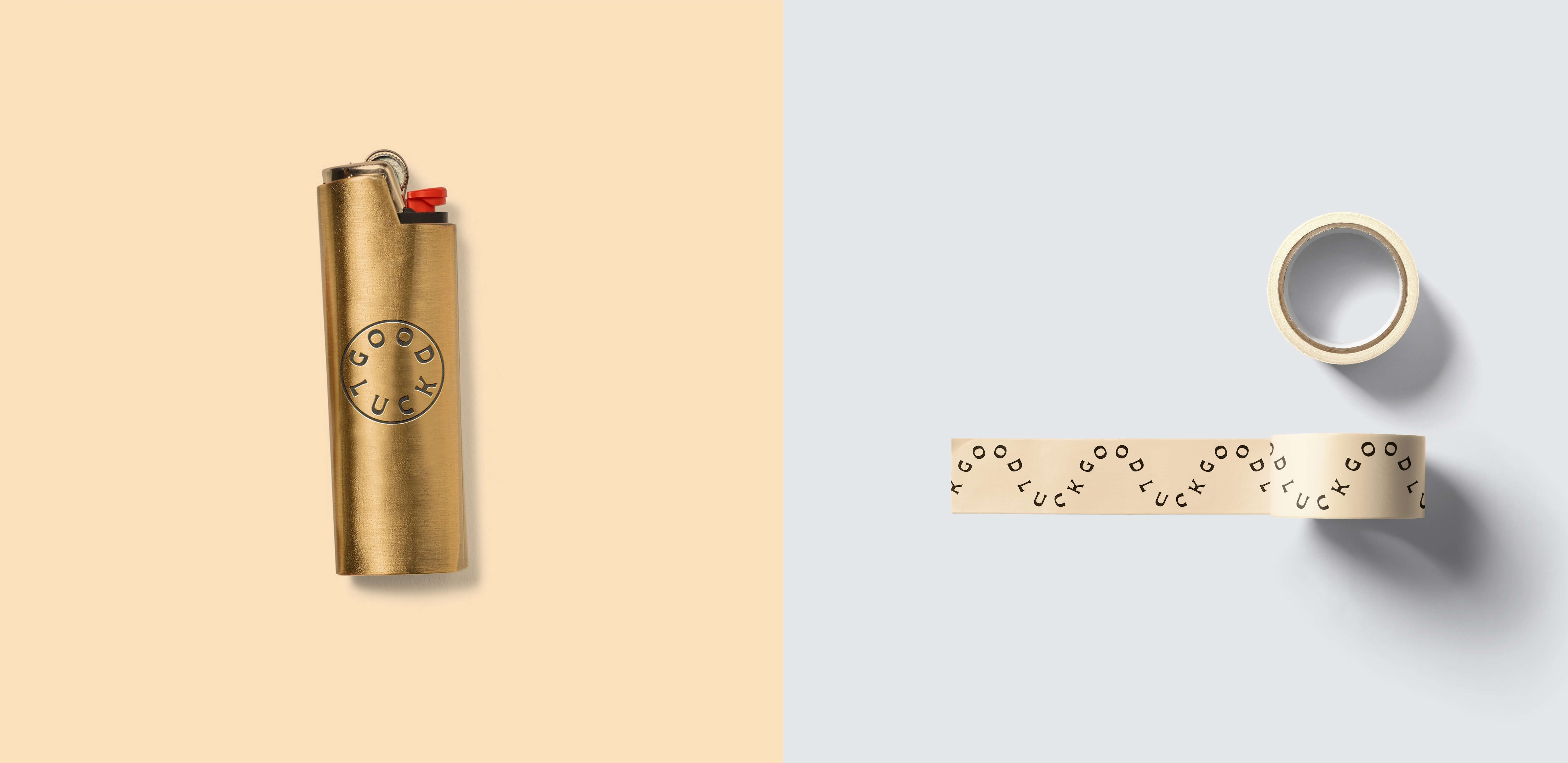 A brass lighter case and custom packing tape for Good Luck Provisions