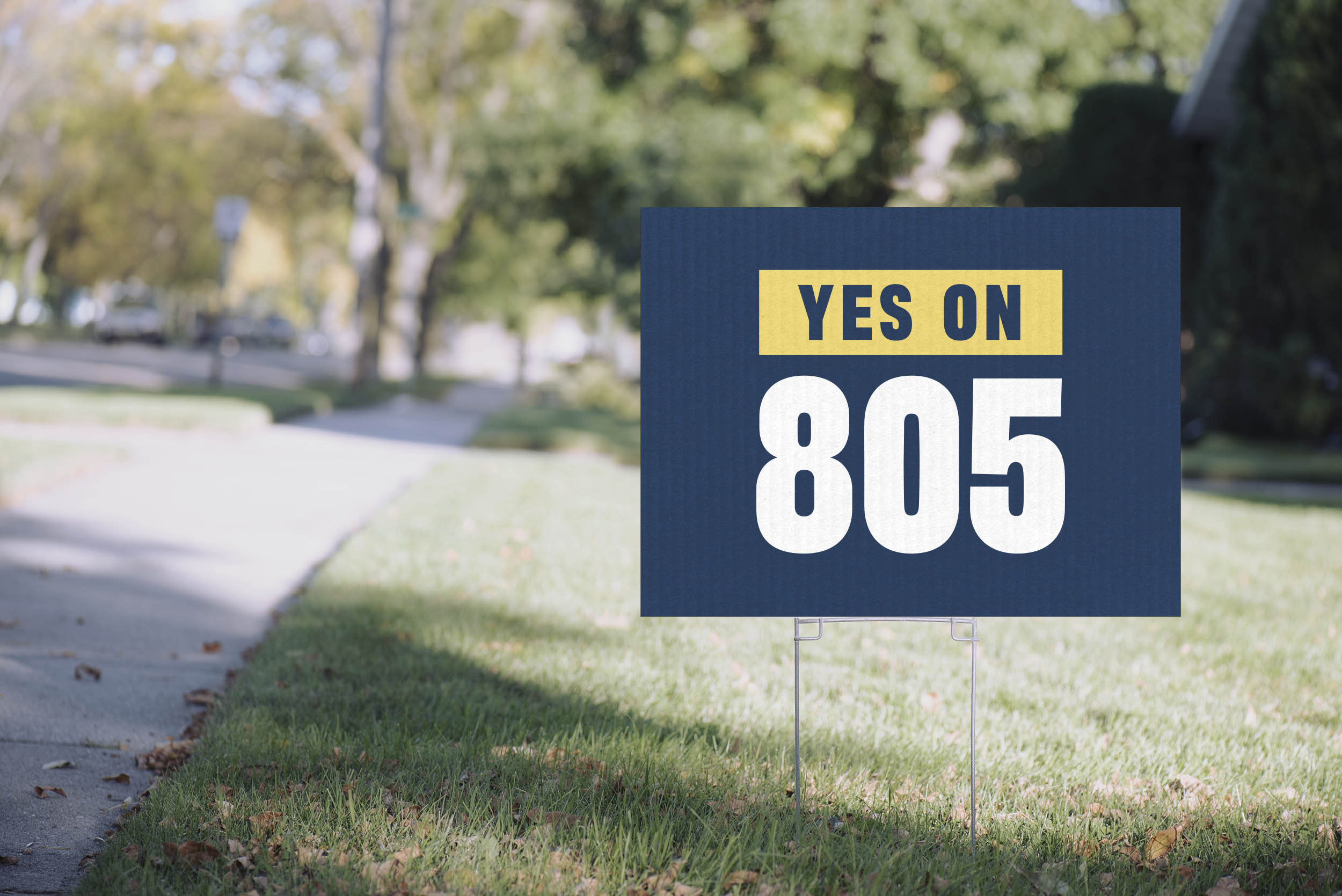 A yard sign for Yes on 805
