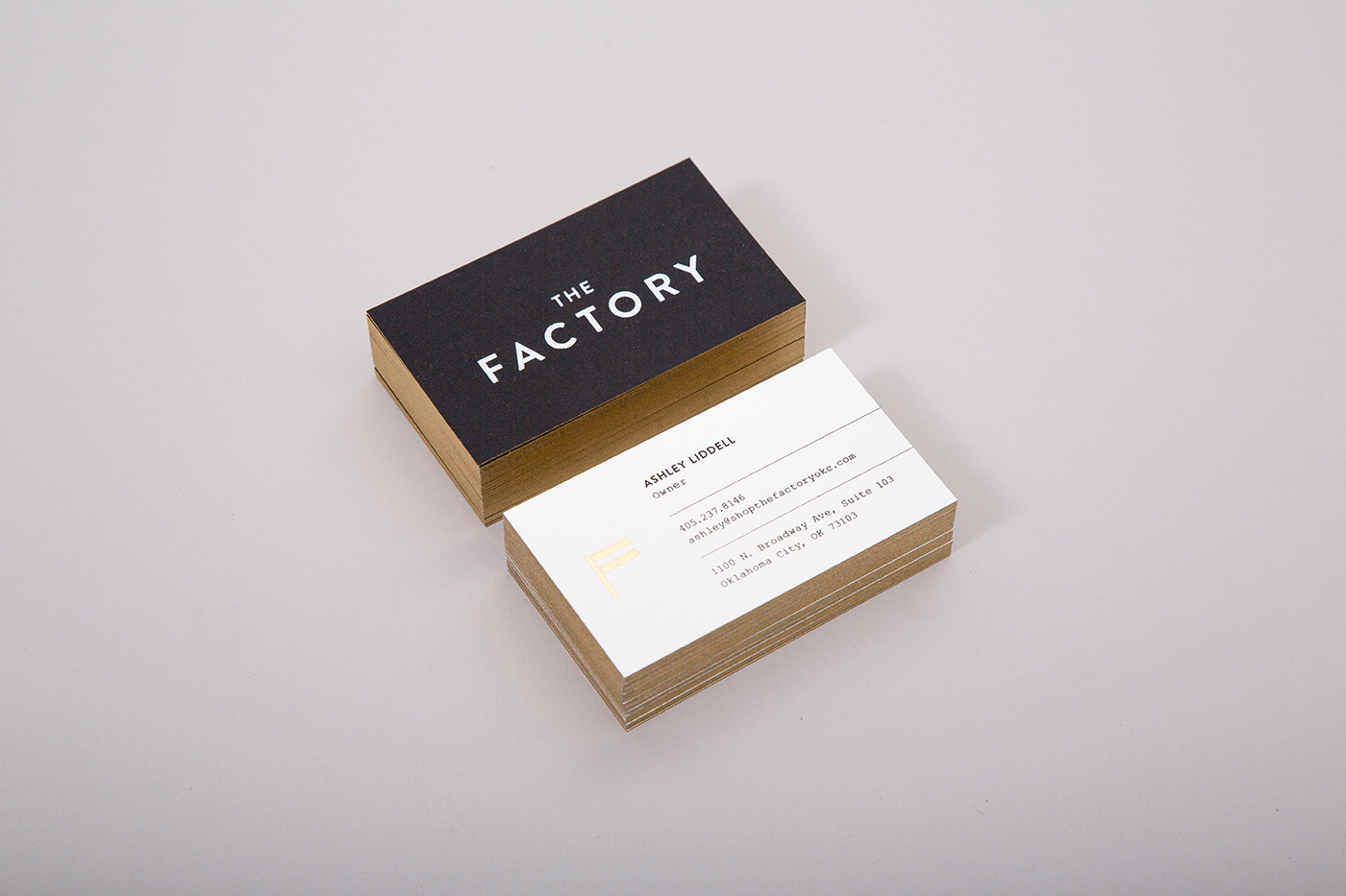 Business Cards with gold painted edges for The Factory in OKC
