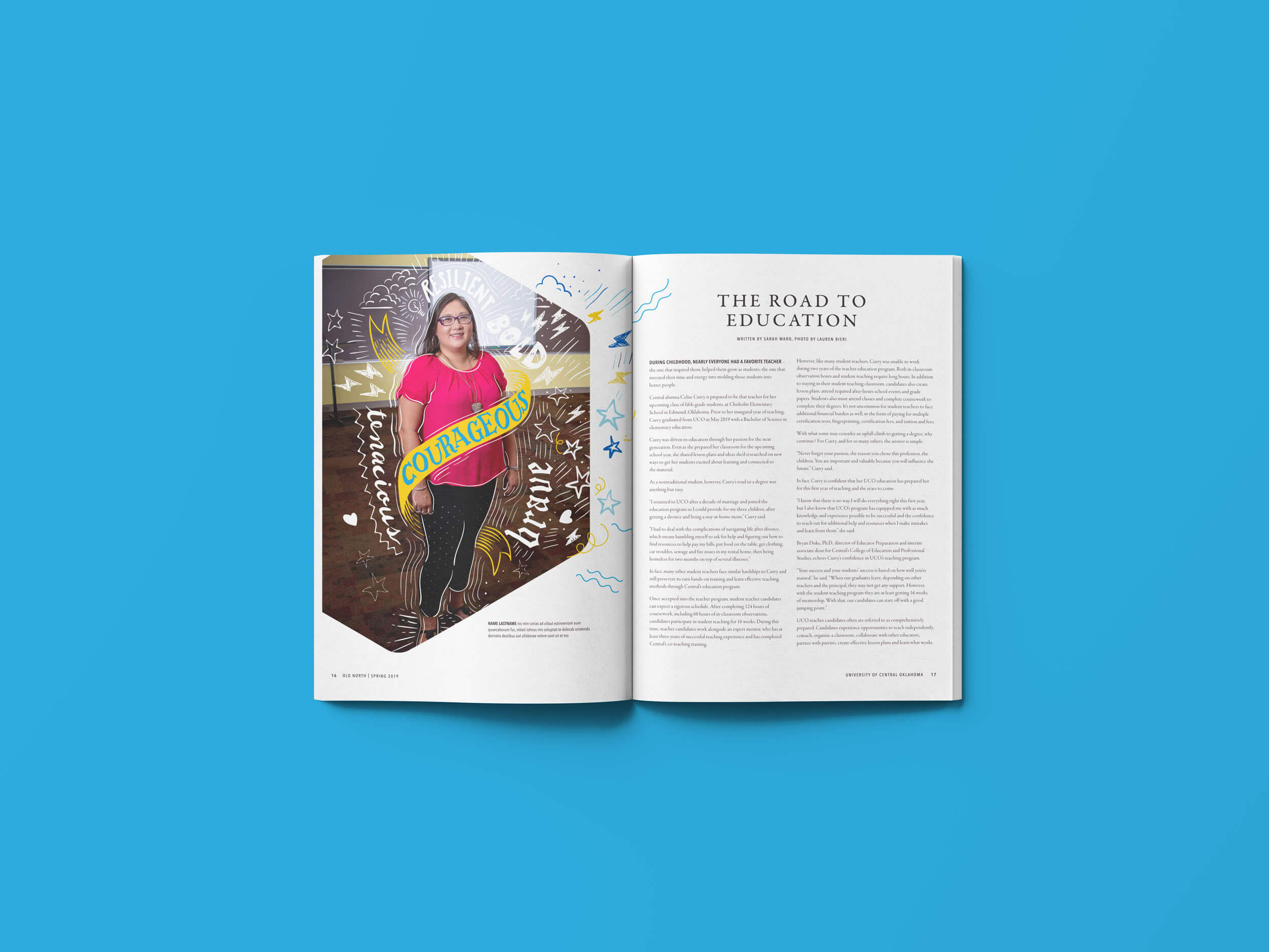 A magazine spread with a hexagon an hand-made graphic elements.