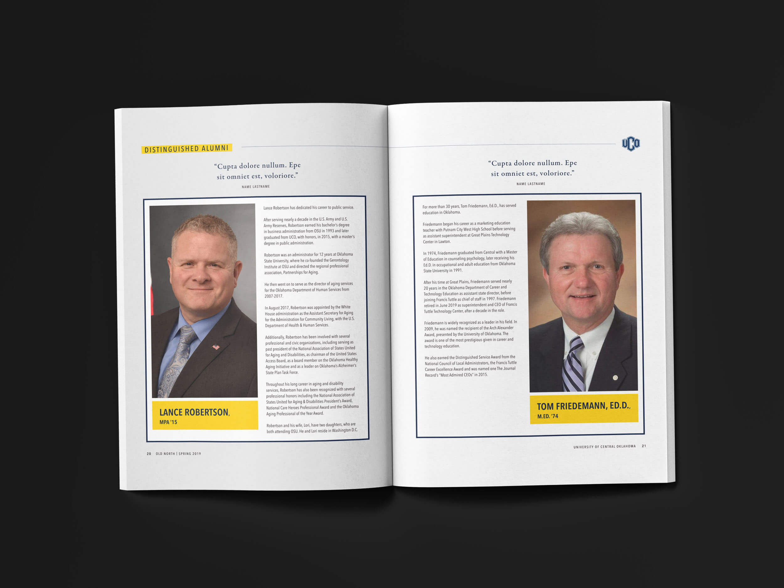 A spread of distinguished Alumni for the UCO Old North Magazine Style Guides by Ghost