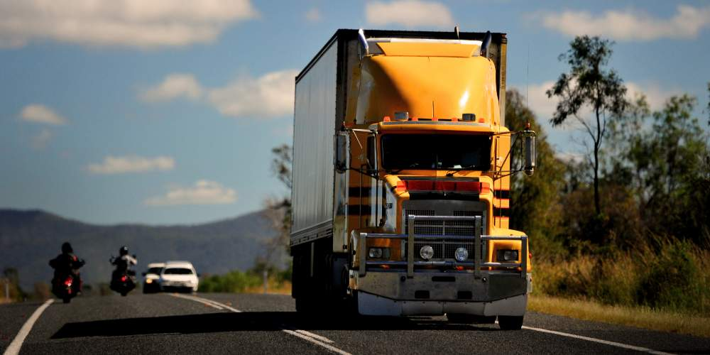 High powered truck driving along highway