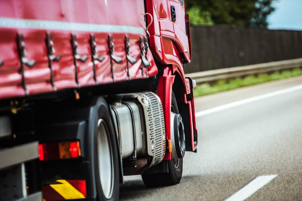HGV driving to COVID test site