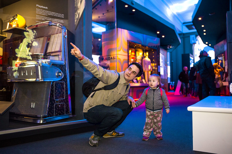Dad with his daughter at the British Music Experience