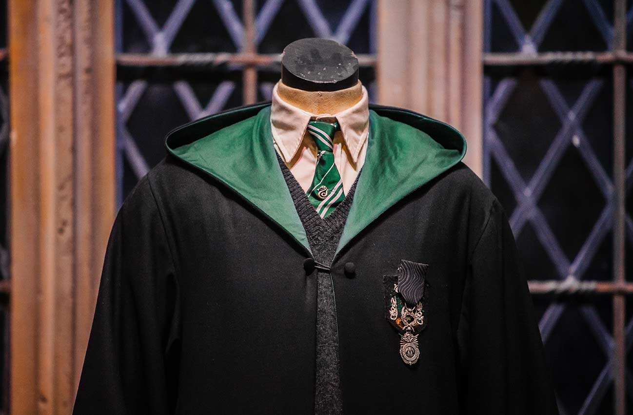 Slytherin robes on a mannequin at Warner Bros. Harry Potter Studio Tour