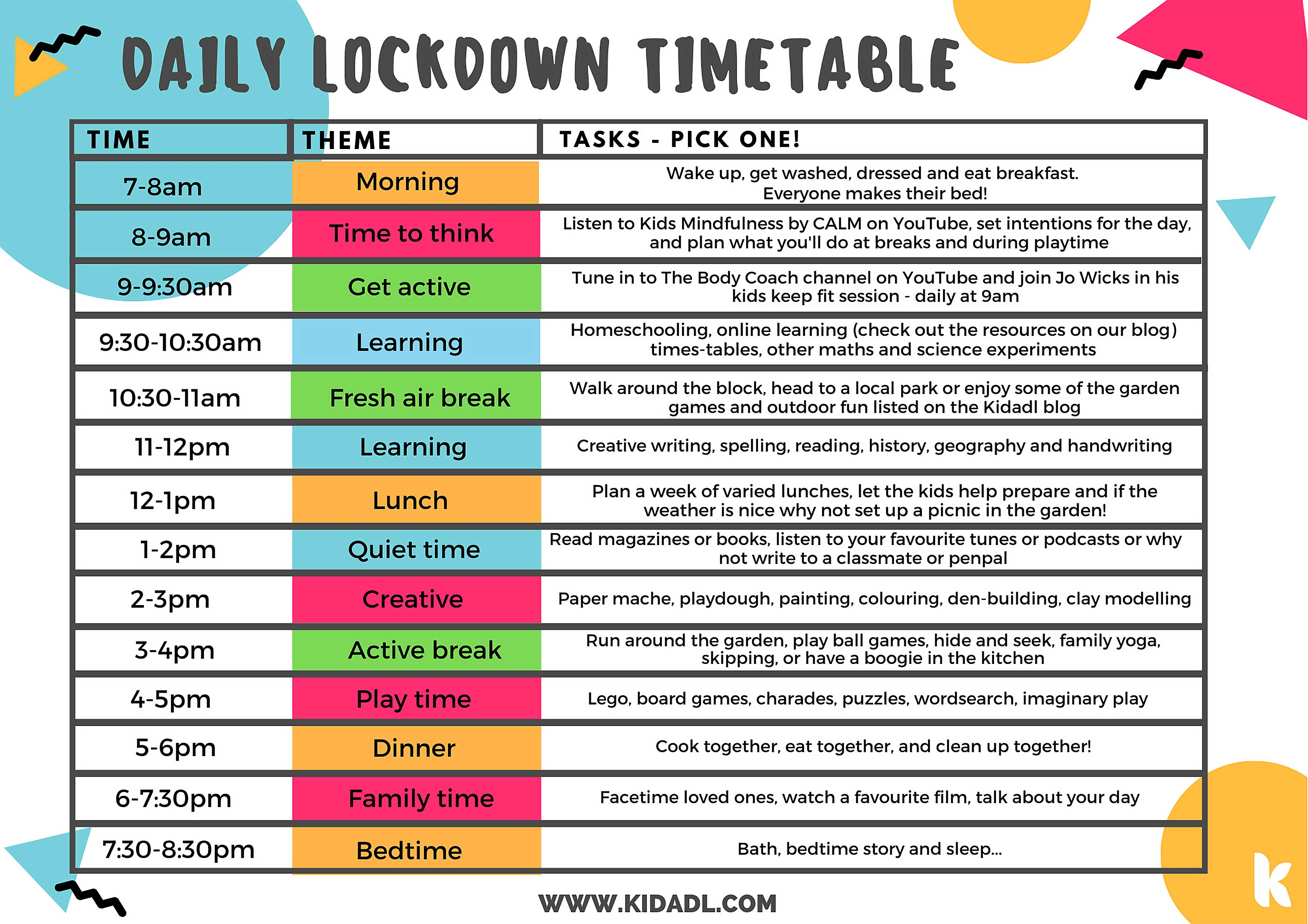 lockdown timetable