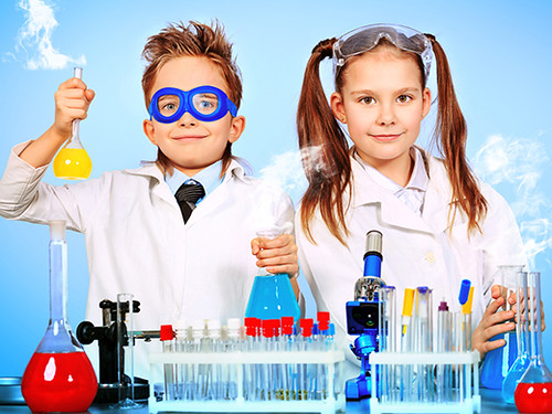 Children dressed as scientists for an educational podcast about science