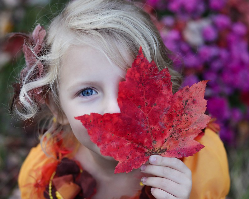 Child surrounded by leaves
