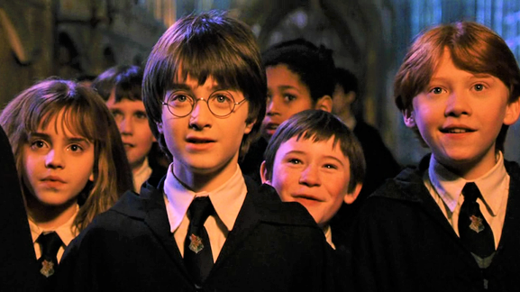 Harry, Ron and Hermione in the Great Hall