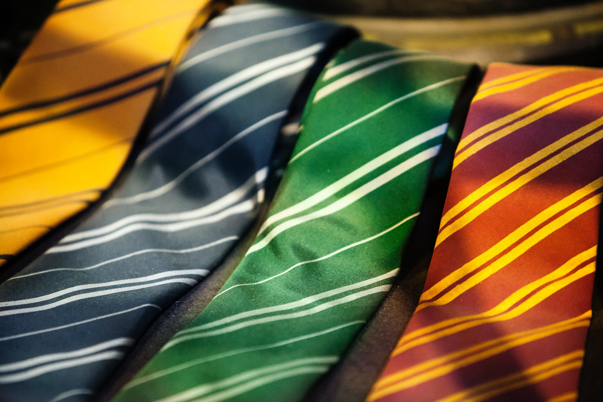 four ties in the Hogwarts house colours
