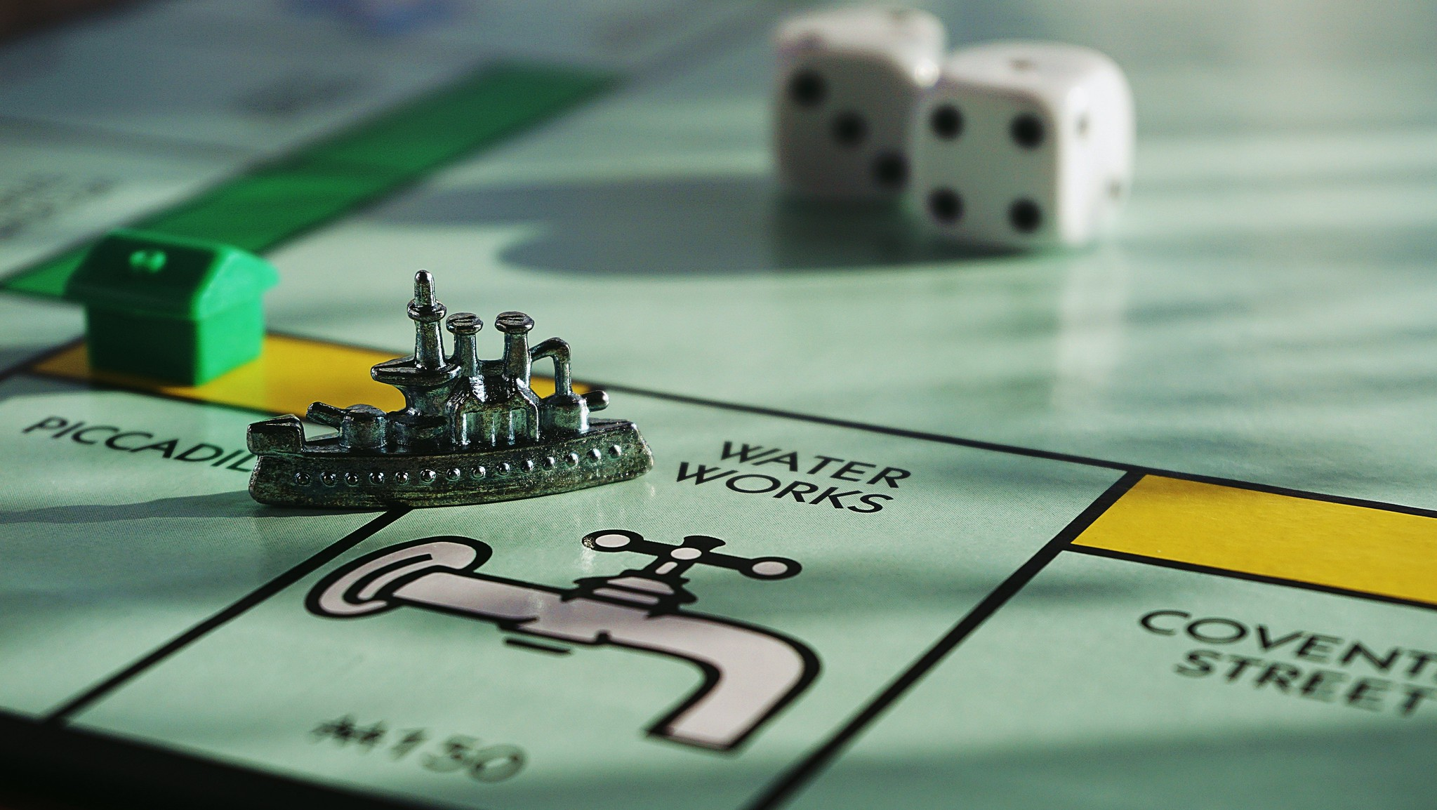 close-up shot of Monopoly board