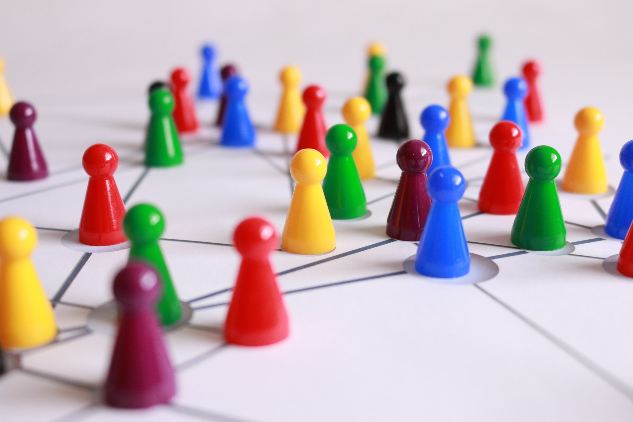 close-up shot of colourful board game pieces