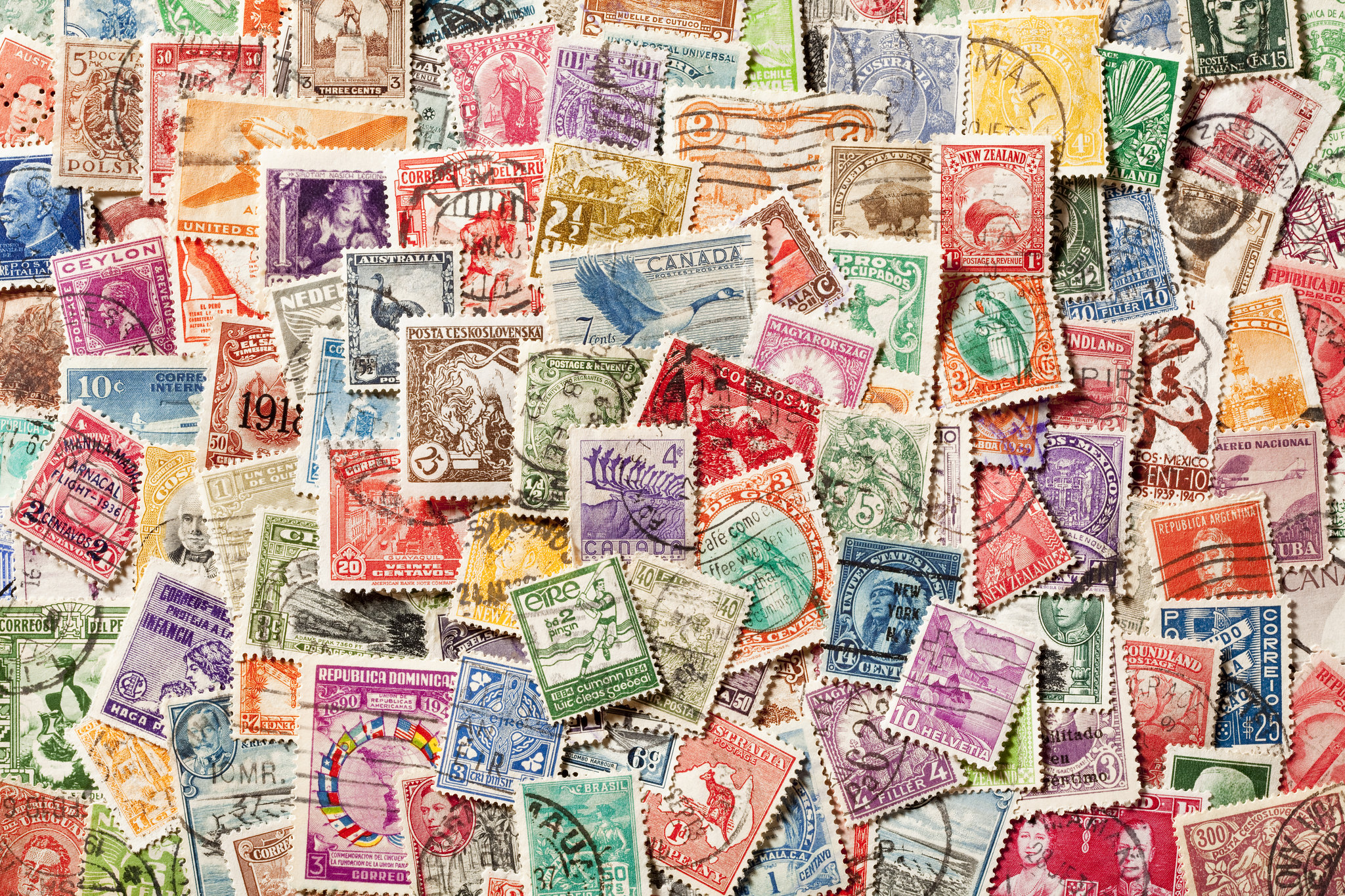 collection of stamps from all over the world