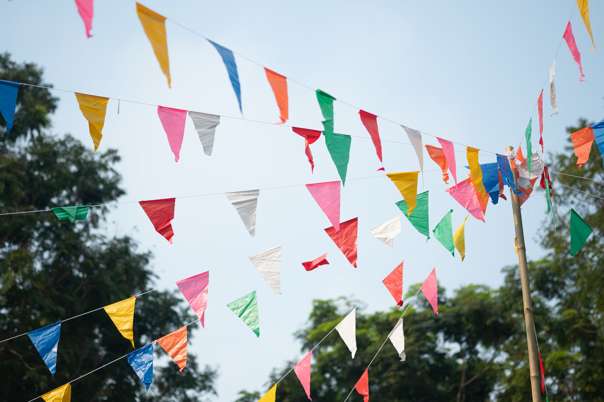 lines of colourful bunting