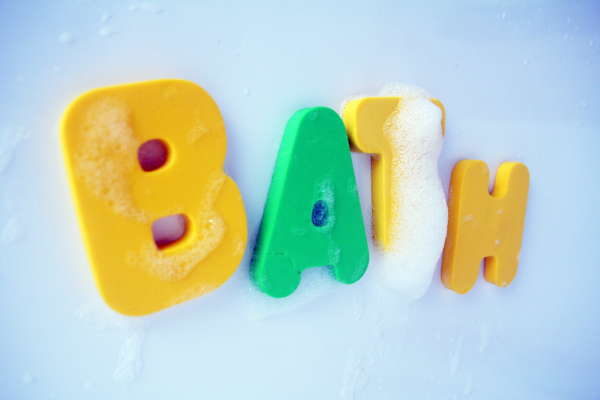 colourful foam letters spelling out bath