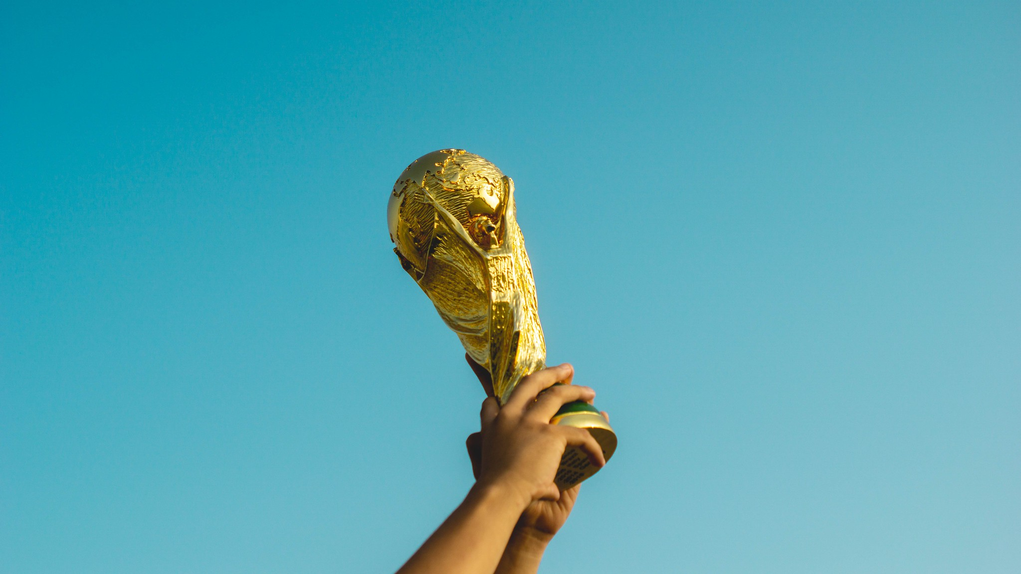 holding up the World Cup trophy
